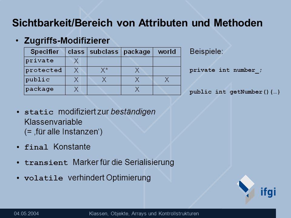 Sichtbarkeit/Bereich von Attributen und Methoden