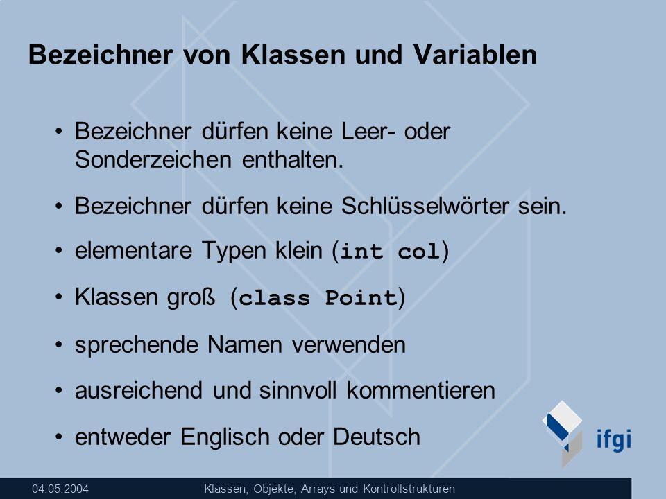 Bezeichner von Klassen und Variablen