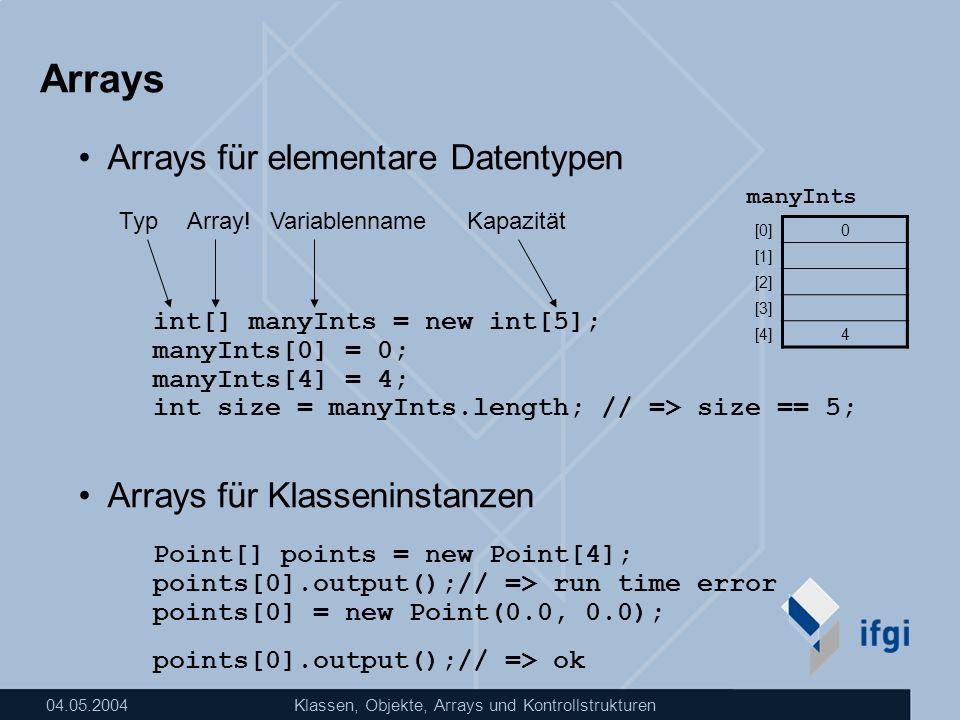 Arrays Arrays für elementare Datentypen Arrays für Klasseninstanzen