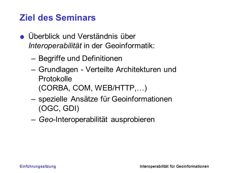 Ziel des Seminars Überblick und Verständnis über Interoperabilität in der Geoinformatik: Begriffe und Definitionen.