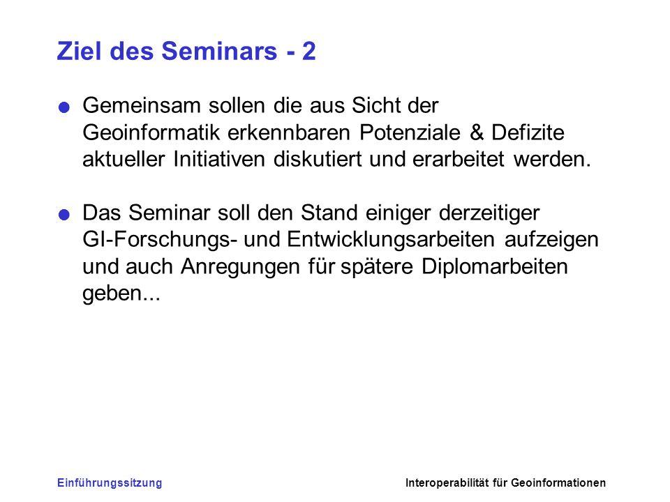 Ziel des Seminars - 2