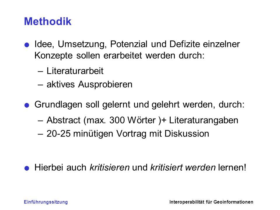 Methodik Idee, Umsetzung, Potenzial und Defizite einzelner Konzepte sollen erarbeitet werden durch: