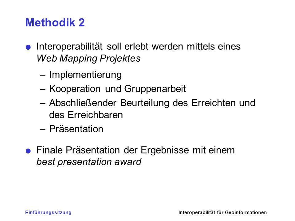 Methodik 2 Interoperabilität soll erlebt werden mittels eines Web Mapping Projektes. Implementierung.