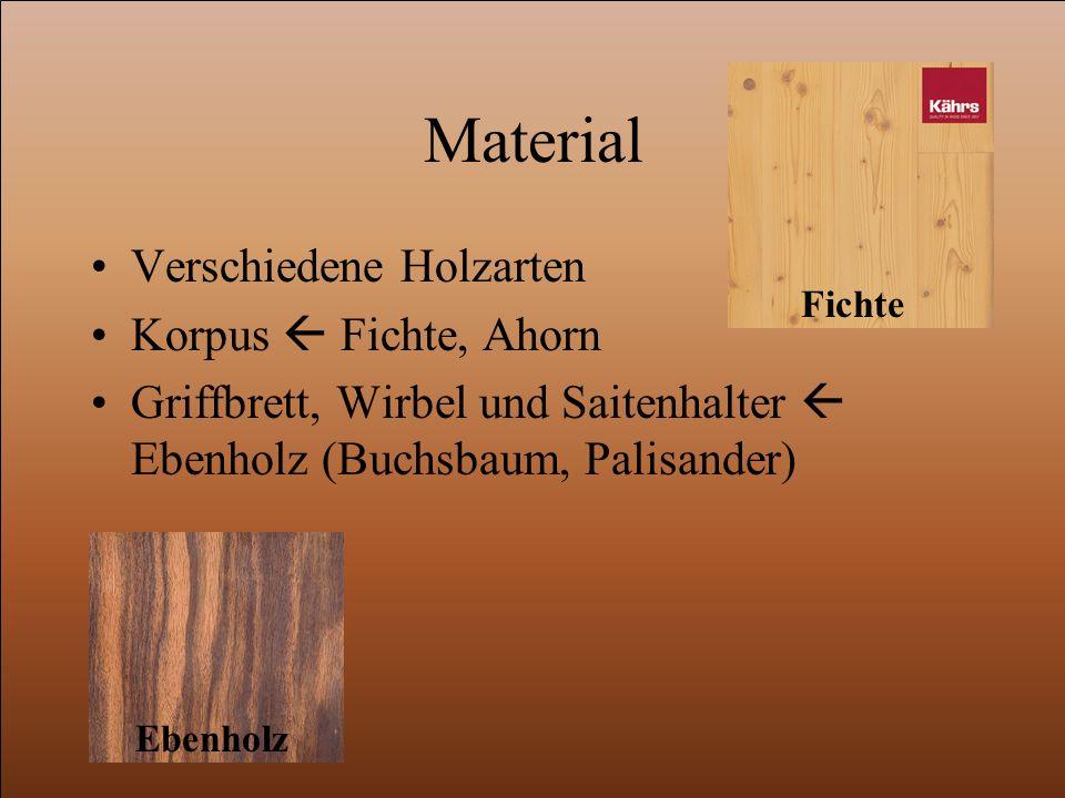 Material Verschiedene Holzarten Korpus  Fichte, Ahorn