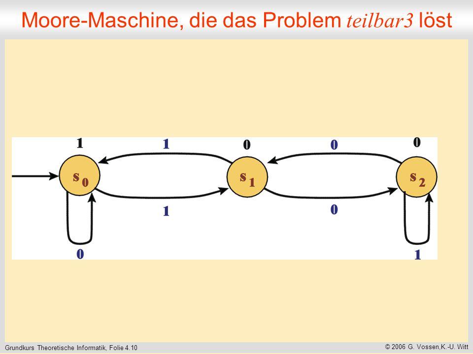 Moore-Maschine, die das Problem teilbar3 löst