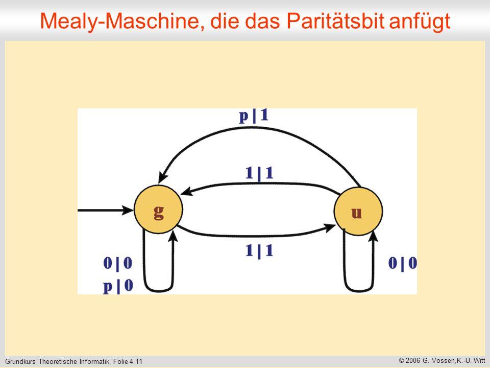 Mealy-Maschine, die das Paritätsbit anfügt