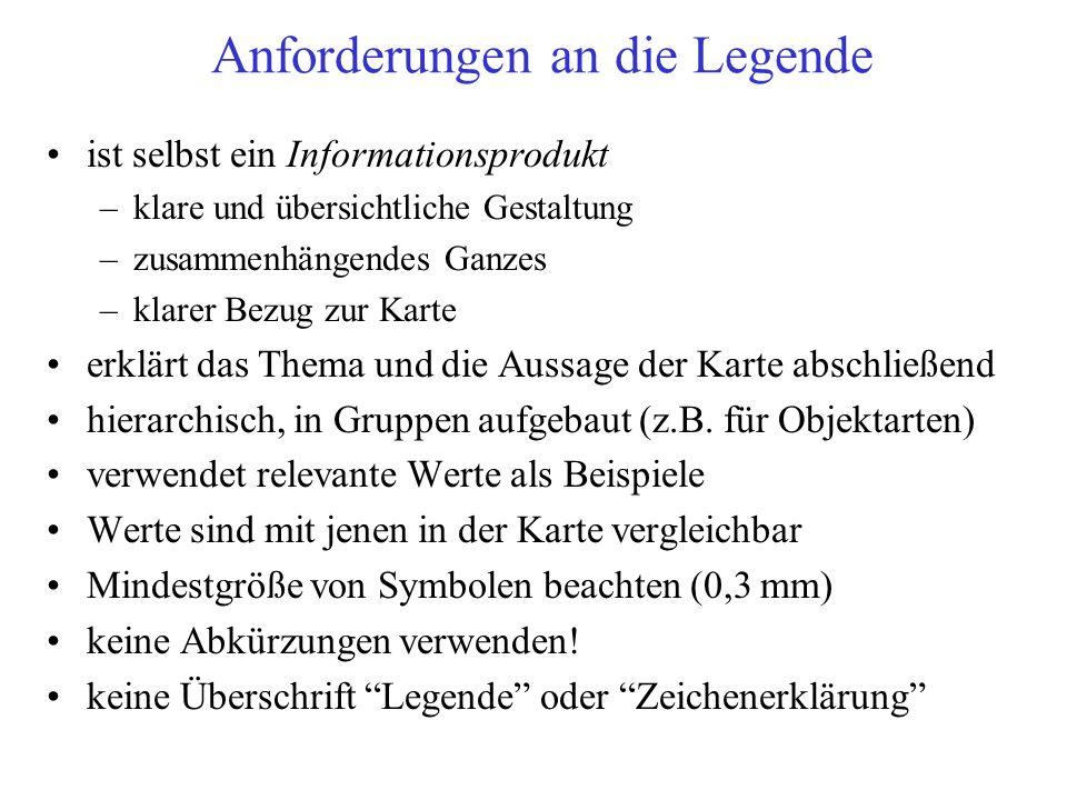 Anforderungen an die Legende
