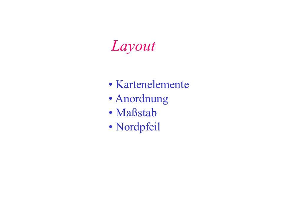 Layout Kartenelemente Anordnung Maßstab Nordpfeil