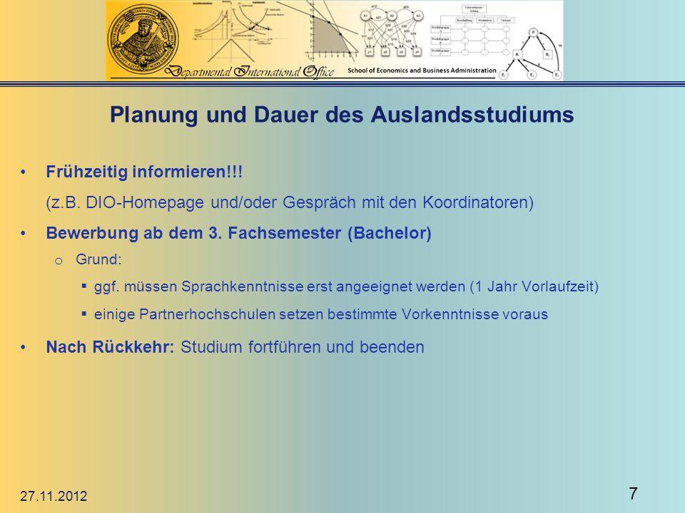 Planung und Dauer des Auslandsstudiums