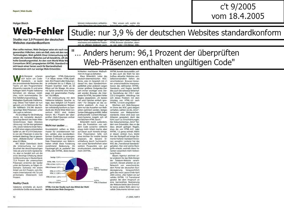 c t 9/2005 vom 18.4.2005 Studie: nur 3,9 % der deutschen Websites standardkonform. … Anders herum: 96,1 Prozent der überprüften.
