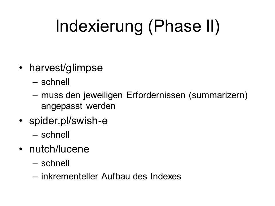 Indexierung (Phase II)