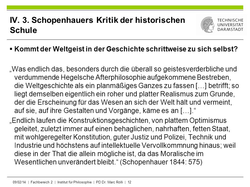 IV. 3. Schopenhauers Kritik der historischen Schule