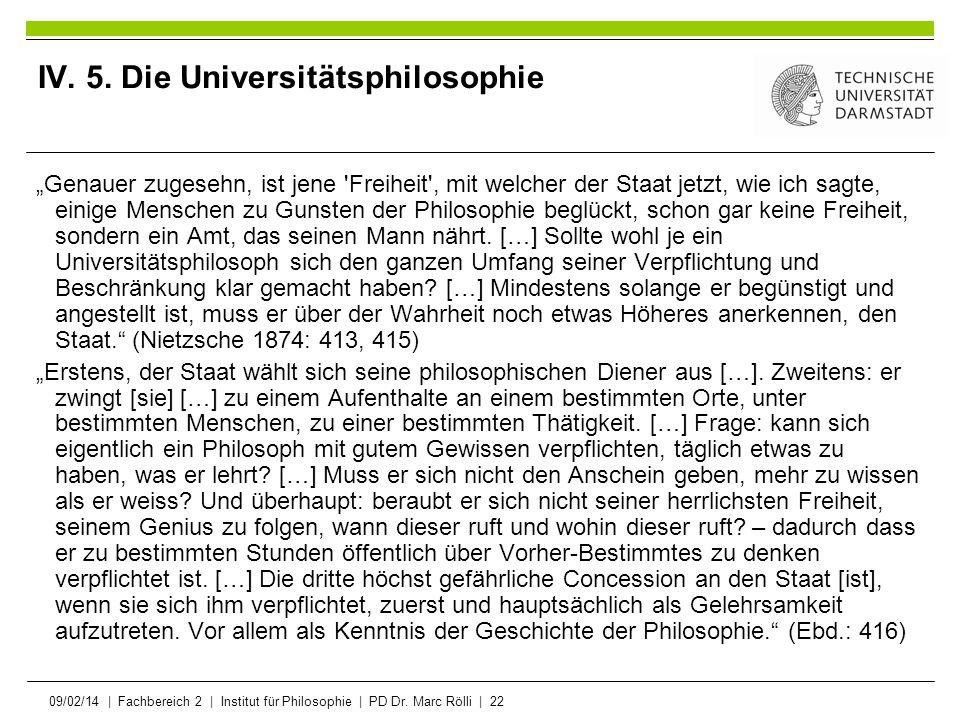 IV. 5. Die Universitätsphilosophie