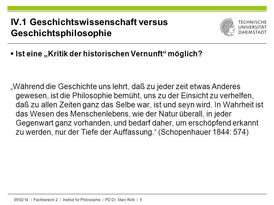 IV.1 Geschichtswissenschaft versus Geschichtsphilosophie