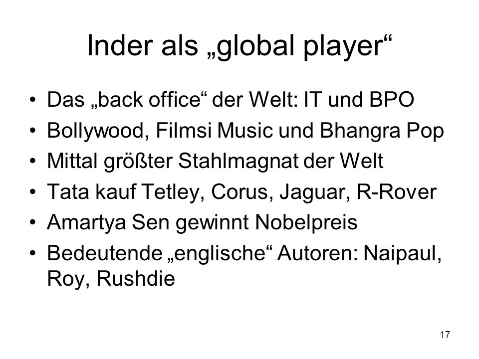 "Inder als ""global player"
