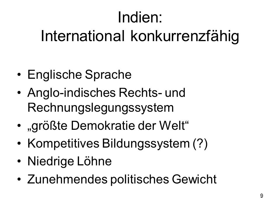 Indien: International konkurrenzfähig