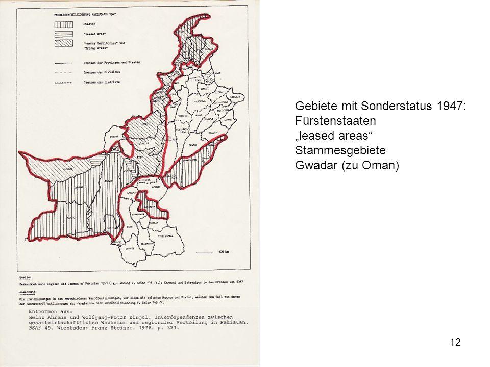 Gebiete mit Sonderstatus 1947: