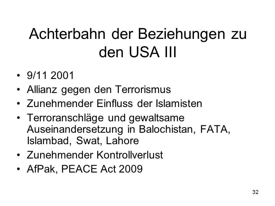 Achterbahn der Beziehungen zu den USA III