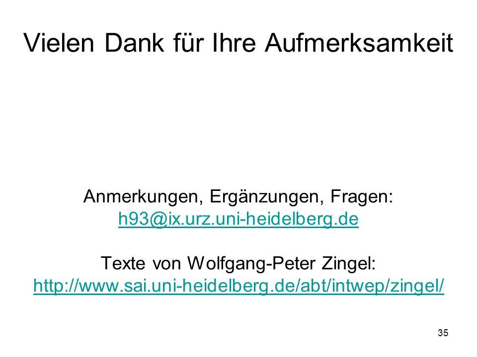 Vielen Dank für Ihre Aufmerksamkeit Anmerkungen, Ergänzungen, Fragen: h93@ix.urz.uni-heidelberg.de Texte von Wolfgang-Peter Zingel: http://www.sai.uni-heidelberg.de/abt/intwep/zingel/
