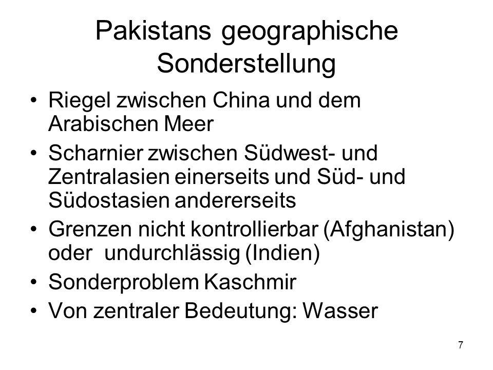 Pakistans geographische Sonderstellung