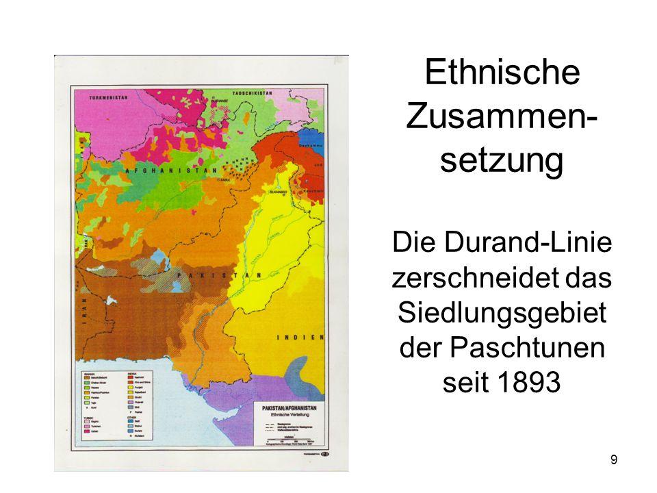 Ethnische Zusammen-setzung Die Durand-Linie zerschneidet das Siedlungsgebiet der Paschtunen seit 1893