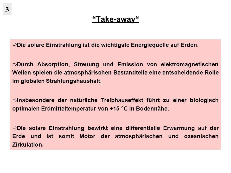 Take-away 3. Die solare Einstrahlung ist die wichtigste Energiequelle auf Erden.