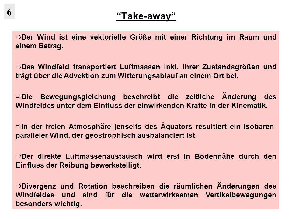 Take-away 6. Der Wind ist eine vektorielle Größe mit einer Richtung im Raum und einem Betrag.