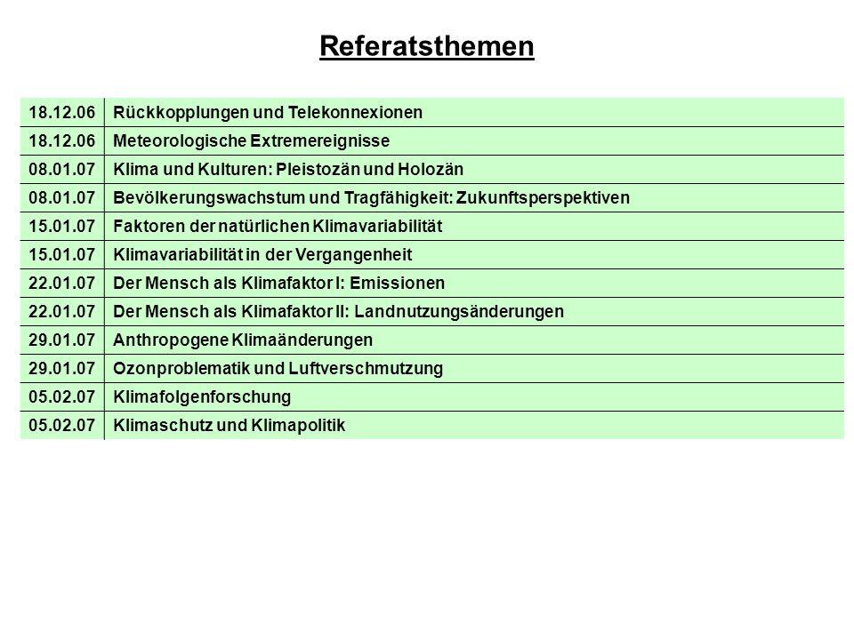 Referatsthemen 18.12.06 Rückkopplungen und Telekonnexionen