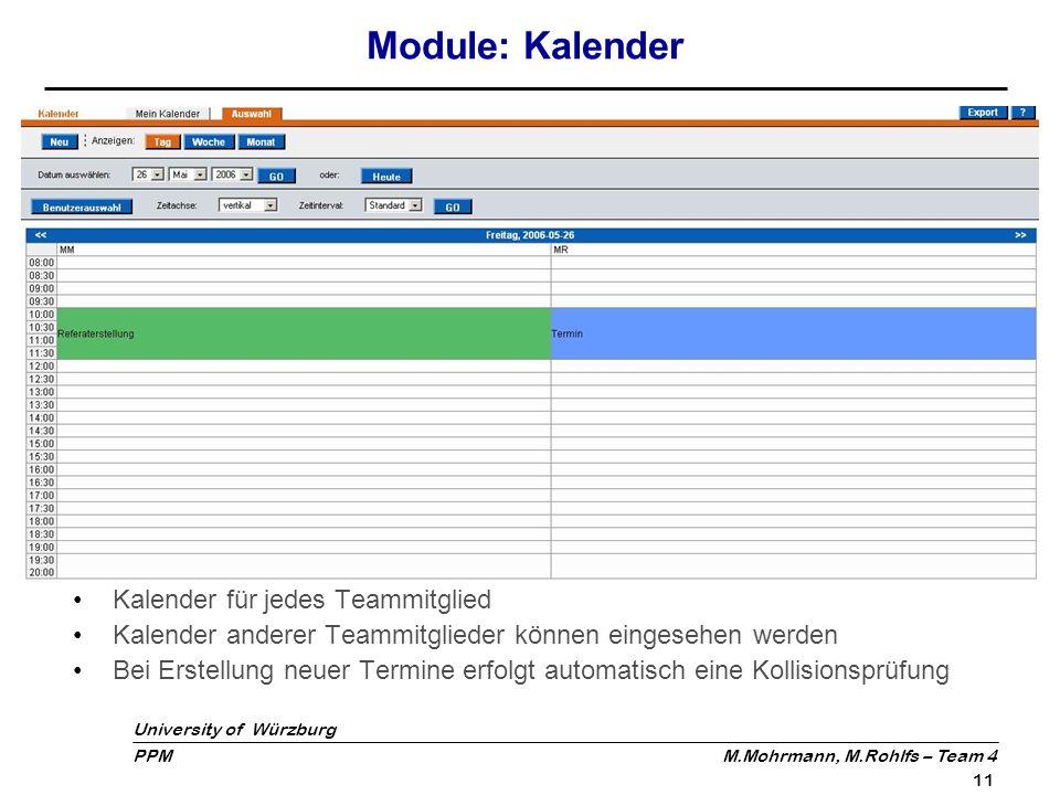 Module: Kalender Kalender für jedes Teammitglied
