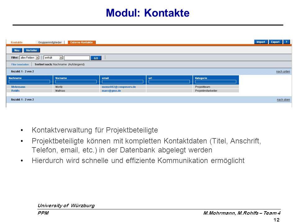 Modul: Kontakte Kontaktverwaltung für Projektbeteiligte