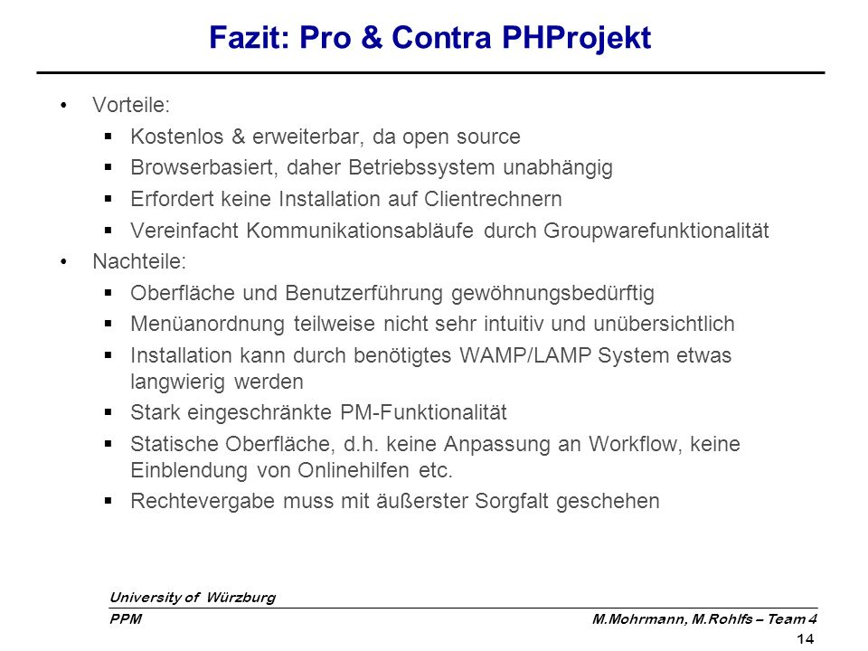 Fazit: Pro & Contra PHProjekt