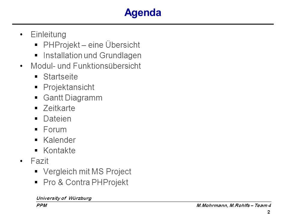 Agenda Einleitung PHProjekt – eine Übersicht