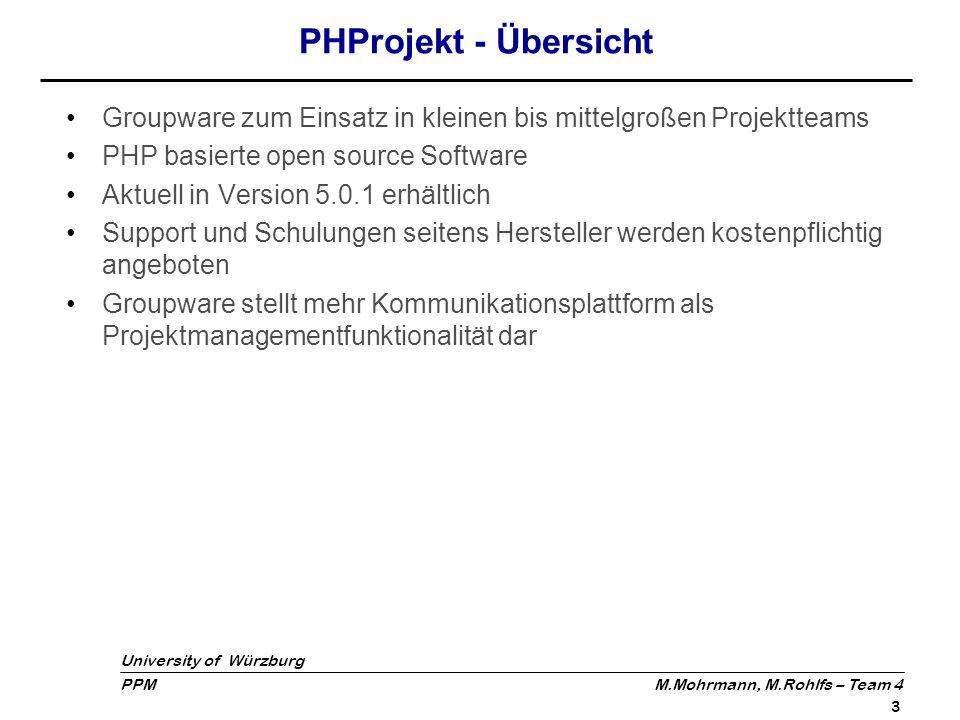 PHProjekt - Übersicht Groupware zum Einsatz in kleinen bis mittelgroßen Projektteams. PHP basierte open source Software.