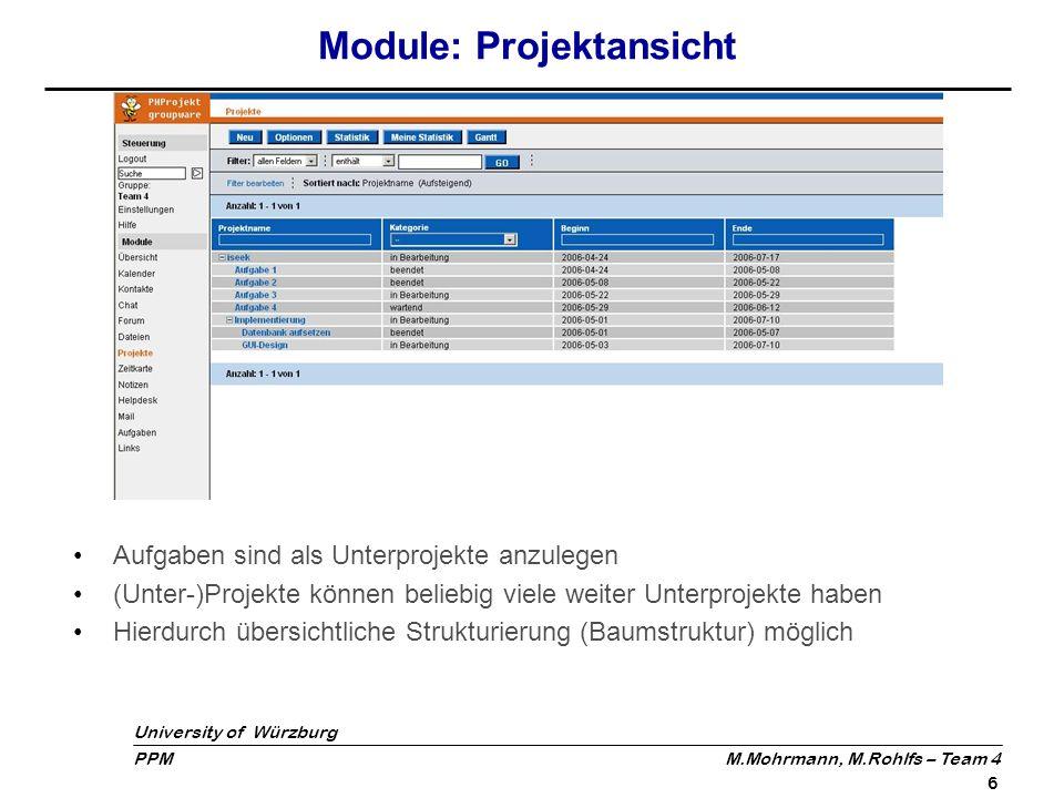 Module: Projektansicht
