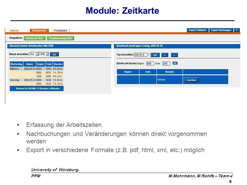 Module: Zeitkarte Erfassung der Arbeitszeiten