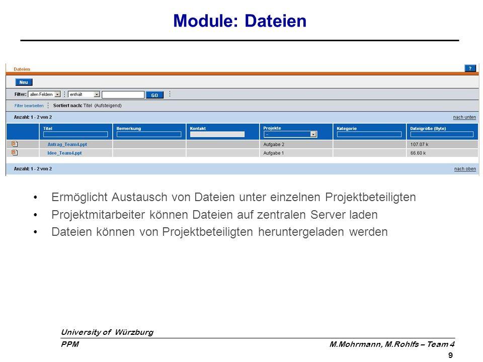 Module: Dateien Ermöglicht Austausch von Dateien unter einzelnen Projektbeteiligten. Projektmitarbeiter können Dateien auf zentralen Server laden.