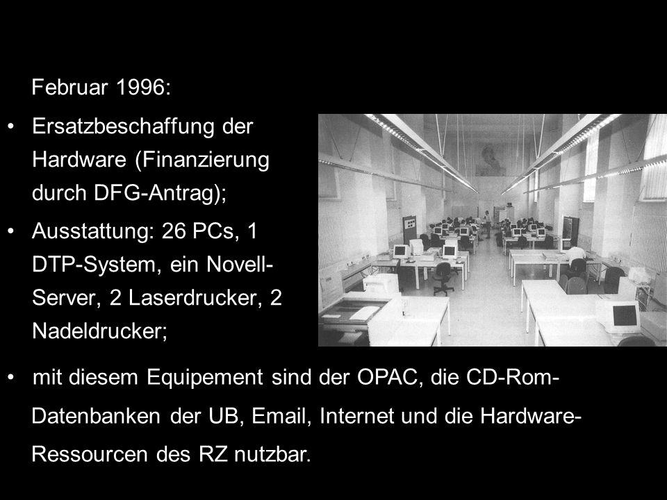Februar 1996: Ersatzbeschaffung der Hardware (Finanzierung durch DFG-Antrag);