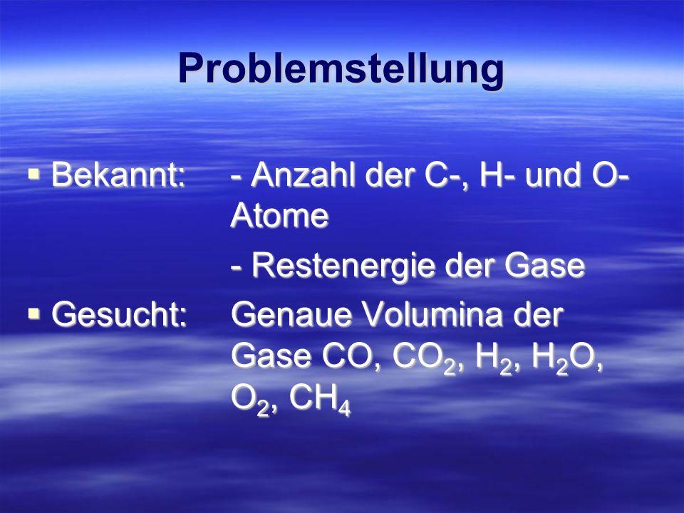 Problemstellung Bekannt: - Anzahl der C-, H- und O- Atome