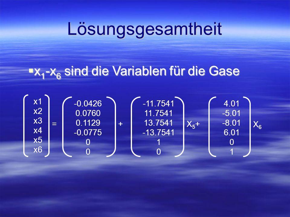 Lösungsgesamtheit x1-x6 sind die Variablen für die Gase