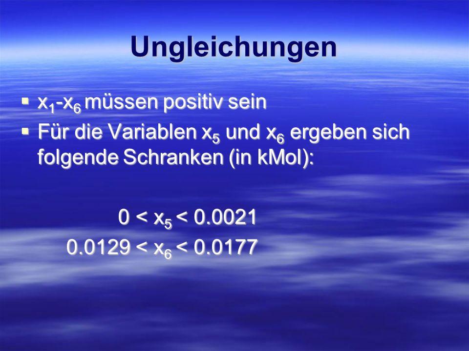 Ungleichungen x1-x6 müssen positiv sein