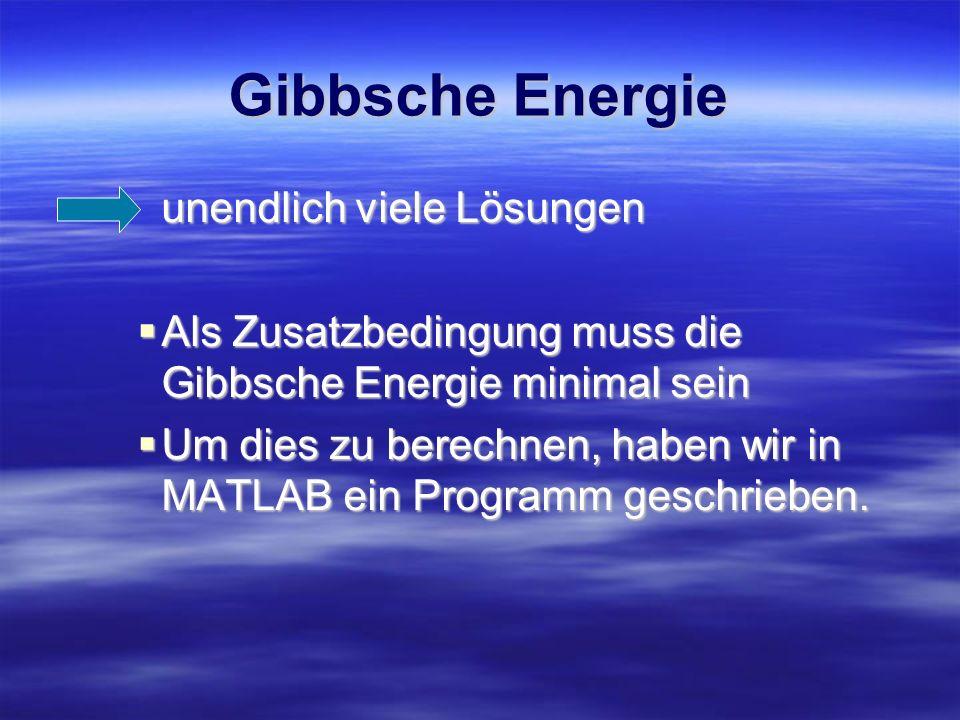 Gibbsche Energie unendlich viele Lösungen