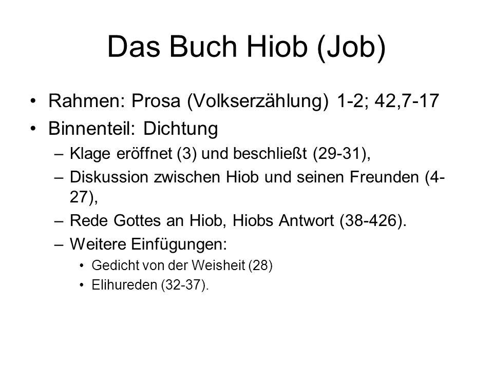 Das Buch Hiob (Job) Rahmen: Prosa (Volkserzählung) 1-2; 42,7-17
