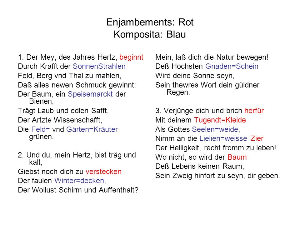 Enjambements: Rot Komposita: Blau