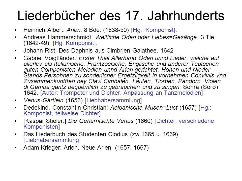 Liederbücher des 17. Jahrhunderts