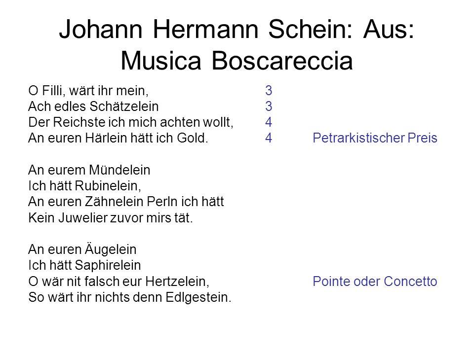 Johann Hermann Schein: Aus: Musica Boscareccia