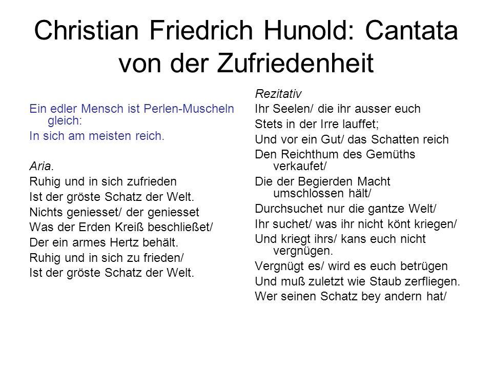 Christian Friedrich Hunold: Cantata von der Zufriedenheit