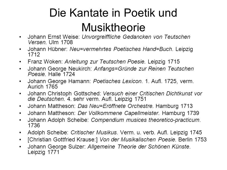 Die Kantate in Poetik und Musiktheorie