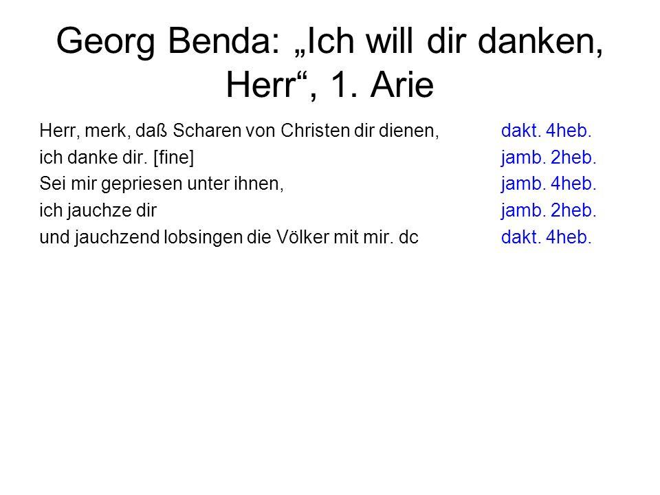 "Georg Benda: ""Ich will dir danken, Herr , 1. Arie"