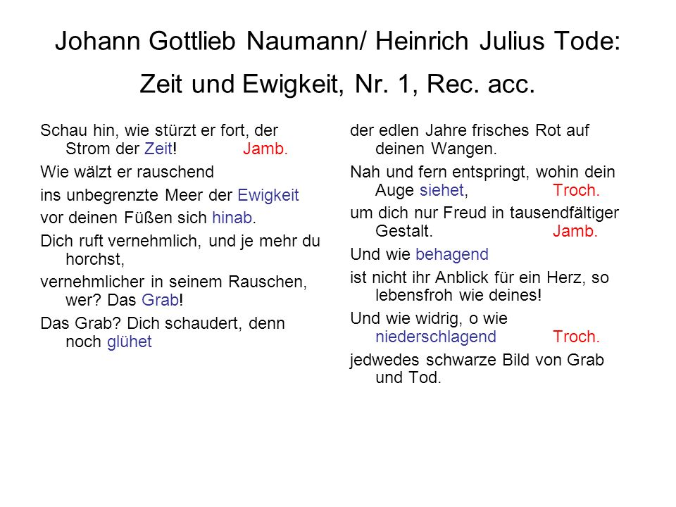 Johann Gottlieb Naumann/ Heinrich Julius Tode: Zeit und Ewigkeit, Nr