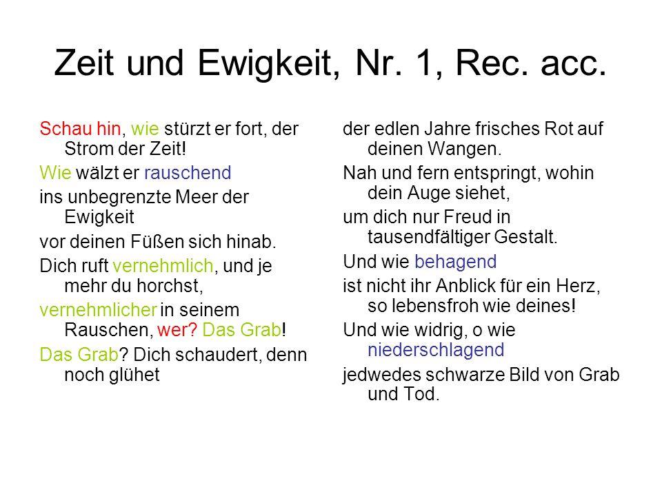 Zeit und Ewigkeit, Nr. 1, Rec. acc.